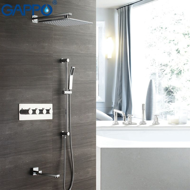 GAPPO Shower Faucets Concealed thermostat bathroom mixer faucet waterfall taps rainfall shower set mixers shower mixer tap