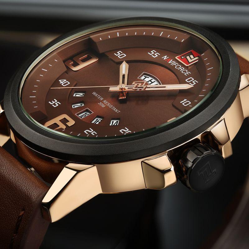 2016 NAVIFORCE Brand <font><b>Analog</b></font> Quartz Watch Men Waterproof Fashion Casual Sports Watches Man Leather Wristwatches Relogio Masculino