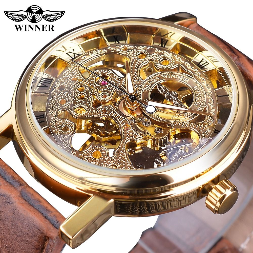 Winner Transparent <font><b>Golden</b></font> Case Luxury Casual Design Brown Leather Strap Mens Watches Top Brand Luxury Mechanical Skeleton Watch