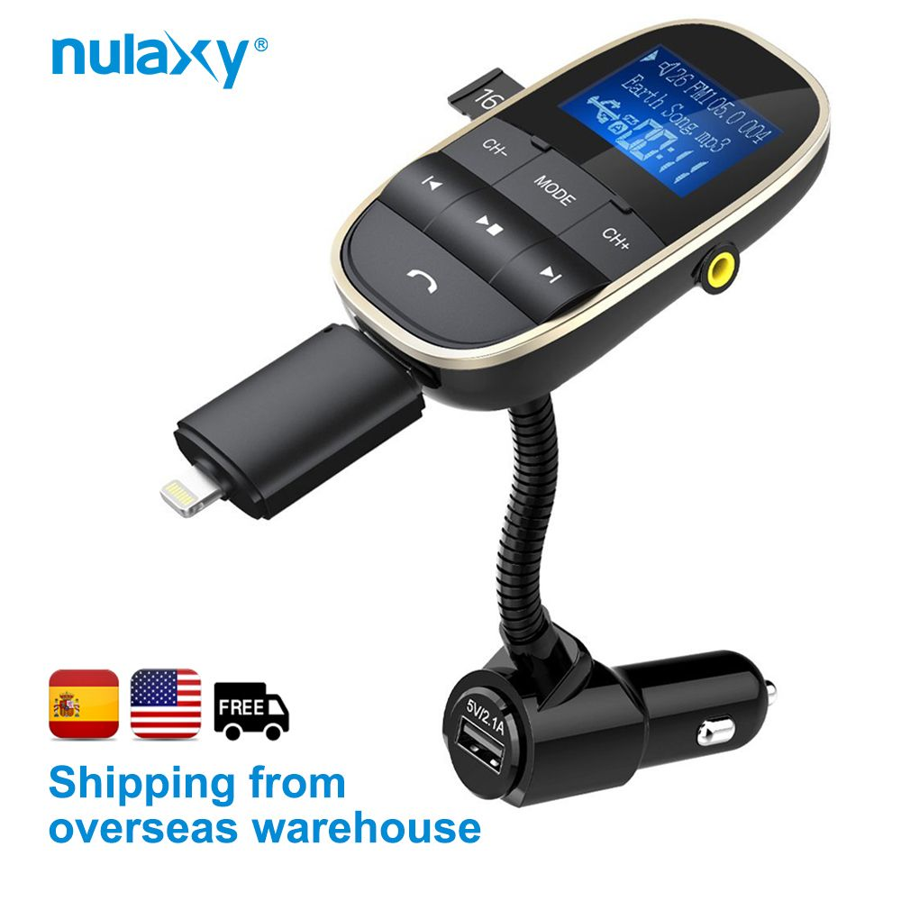 Nulaxy Car MP3 Players Wireless FM Transmitter Bluetooth FM Modulator Car Kit Support U Disk TF Card With Dual USB Car Charger