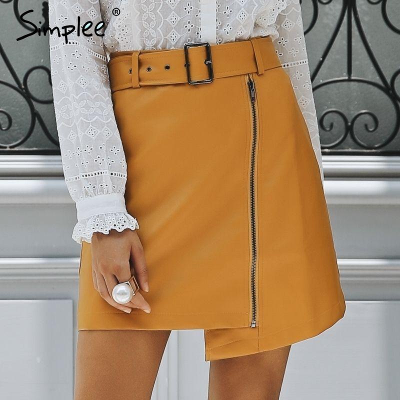 Simplee Sexy high waist PU leather skirt Streetwear sash mini skirts short women bottom 2018 Zipper A-line autumn winter skirt