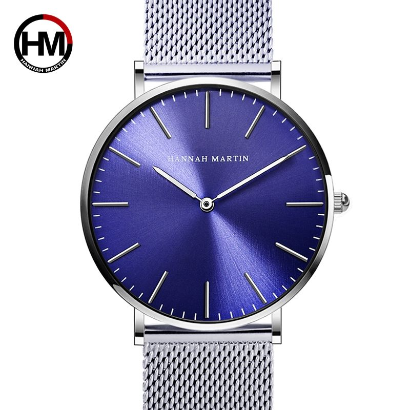 Men Stainless Steel Mesh Japan Quartz Movement Waterproof Blue Dial WristWatch Fashion Simple Stylish Top Luxury brand Watches