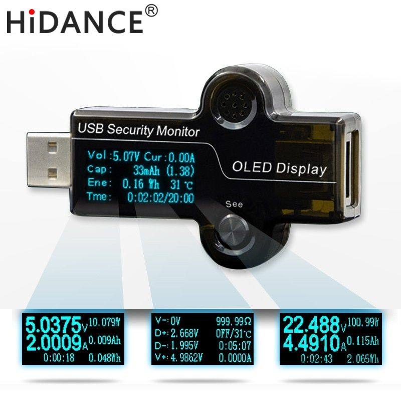HiDANCE USB OLED safety monitor tester Current Meters Charger ammeter voltmeter battery mobile power supply capacity detection