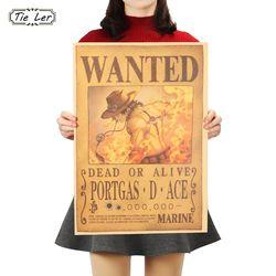 Dasi Ler One Piece Poster Kartun Komik Ace Kertas Kraft Cafe Bar Dekorasi Rumah Lukisan Dinding Stiker 51X36 CM