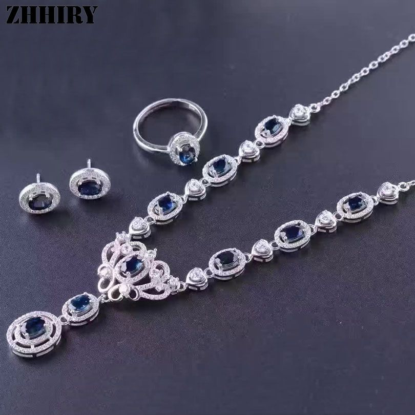 Women Natural Spphire Jewelry Sets Genuine Gemstone Ring Earrings Pendant Necklace 925 Sterling Silver