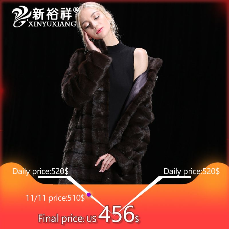 XINYUXIANG 2018 100% Real Mink Fur coats womem Winter Long Genuine Leather Jackets Thick warm Natural Fur Customize coats 19NEW