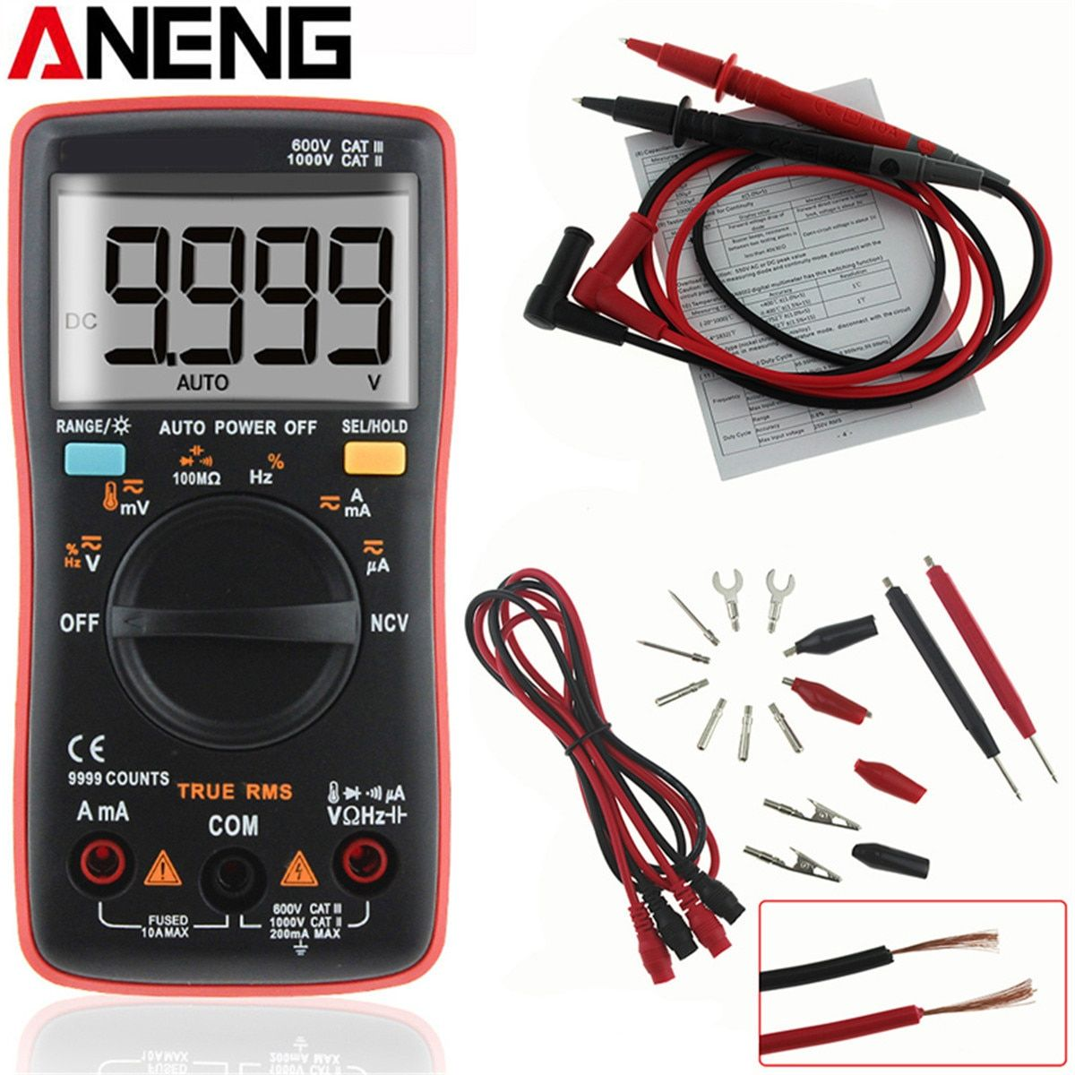ANENG AN8009 Auto Range Digital Multimeter 9999 Counts Backlight AC/DC Ammeter Voltmeter Ohm Transistor Tester Multi Meter