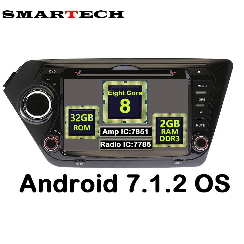 Octa Core Android 7.1.2 For Kia K2 Car Stereo Radio DVD Video Player Rio 2010-2015 GPS Navigation Bluetooth Wifi RAM 2G ROM 32Gb