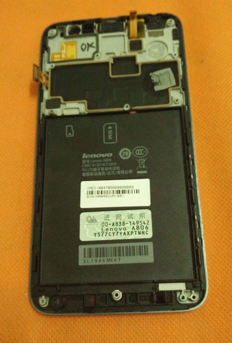 Écran LCD d'origine + Écran Tactile + Cadre Pour Lenovo A806 A8 4G MTK6592 2G RAM 16G ROM 5.0 ''HD FDD LTE shiping Libre