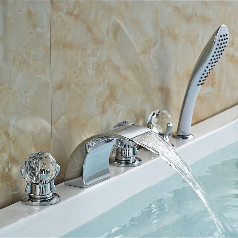 Chrome Brass Three Cristal Handles Waterfall Bathtub Faucet Deck Mount Bath Shower Mixer Taps with Handheld shower