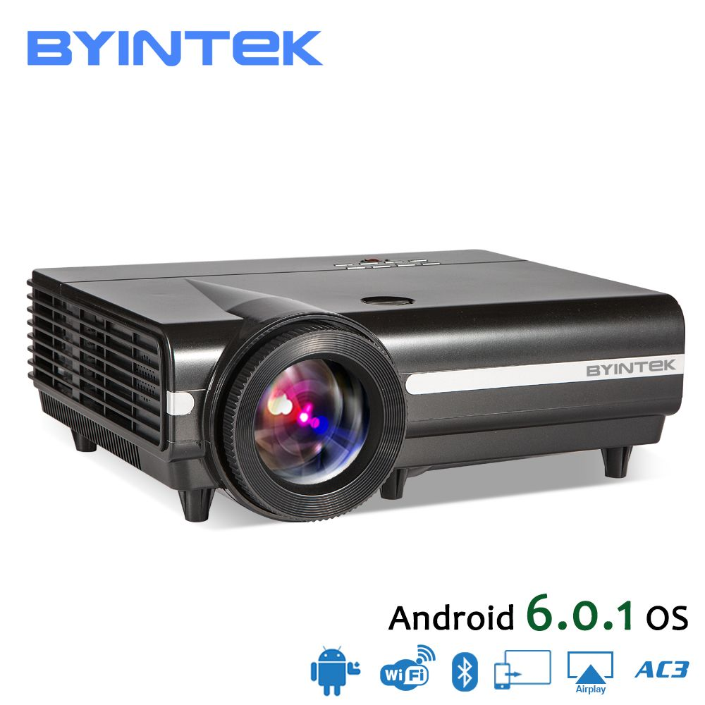 BYINTEK MOON BT96Plus Android Wifi Smart Video LED Projector Proyector For Home Theater Full HD <font><b>1080P</b></font> Support 4K Online Video