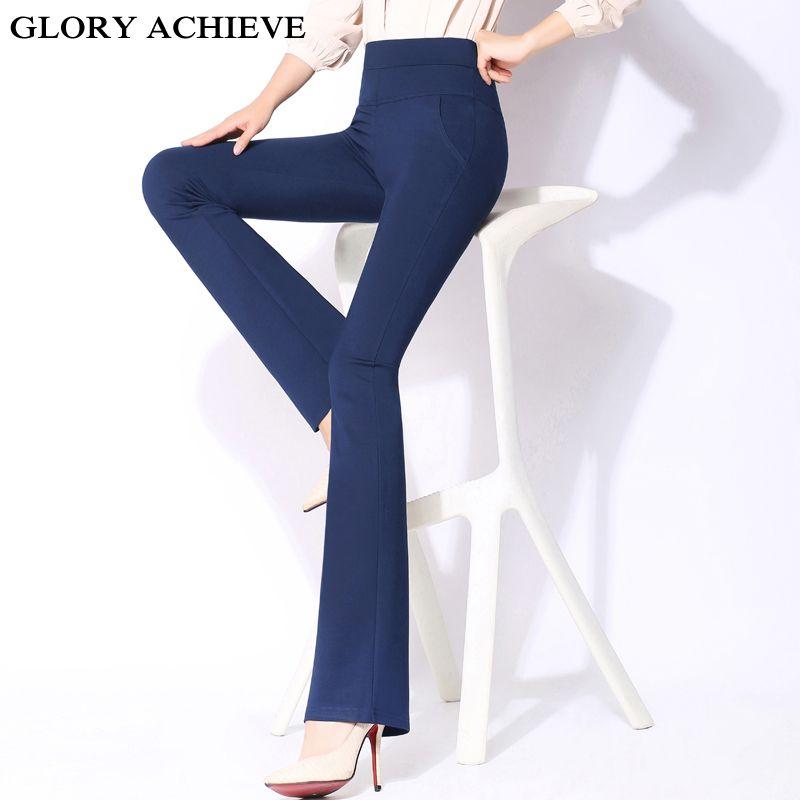 Taille haute pantalon femmes nouveau mode 2019 printemps été bureau dame Flare pantalon pantalon de travail pantalon Long femme grande taille