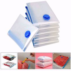 ISKYBOB Large Vacuum Clothes Storage Bags Transparent Foldable Compressed Bag Wardrobe Organizer Space Saving Quilt Seal Holder