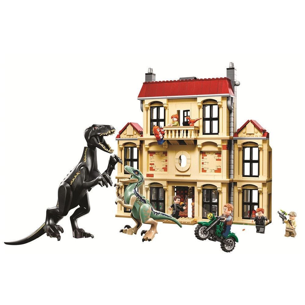 Jurassic World Indoraptor Rampage at Lockwood Estate Building Blocks Sets Bricks Classic Movie Model Kids Toys Compatible Legoe