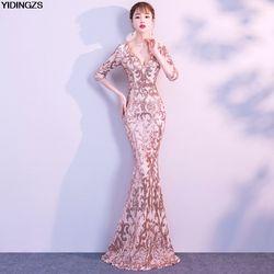 YIDINGZS V-ausschnitt Sehen-durch Zurück Pailletten Party Formale Kleid Halbe Hülse Perlen Sexy Lange Abendkleider