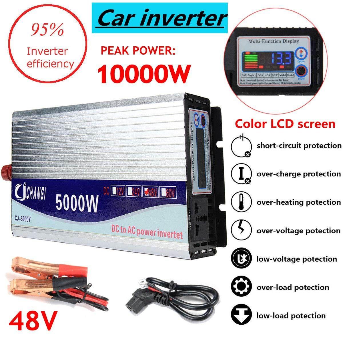 Inverter 12 v/24 v/48 v 220 v 5000 watt 10000 watt Peak-Modifizierte Sinus Welle power Spannung transformator Inverter Konverter + LCD display