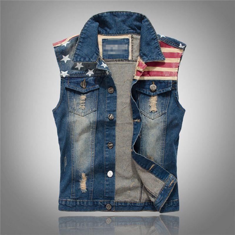 Nouveau jean déchiré gilet hommes drapeau de l'amérique bleu Jeans gilet sans manches Cowboy Jeans veste hommes sans manches M-5XL, PA071