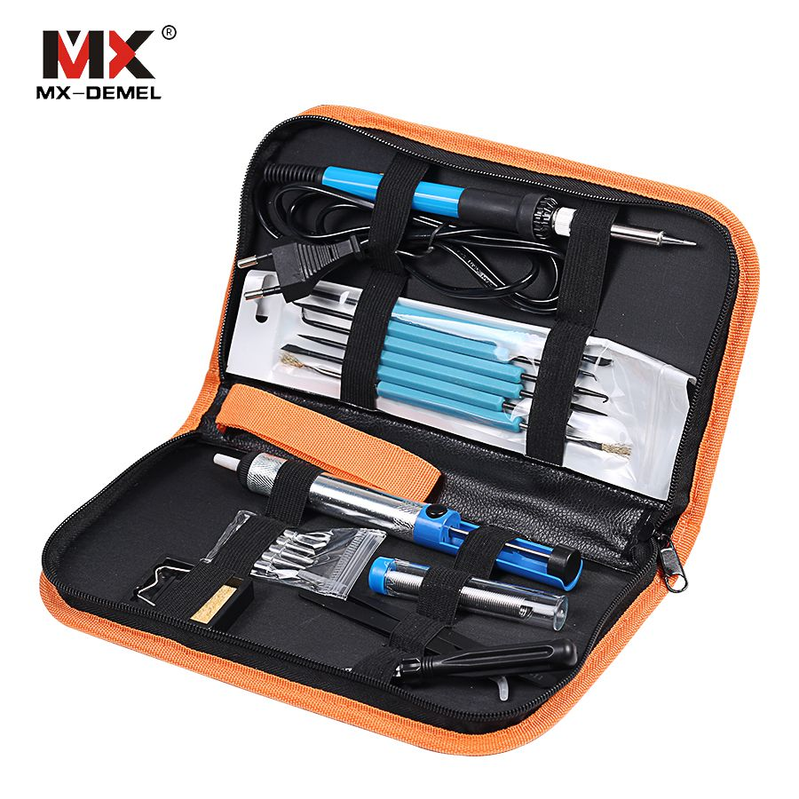 MX-DEMEL 220V 60W Adjustable Temperature Electric Soldering Iron Kit+5pcs Tips Portable Welding Repair Tool Tweezers Solder Wire