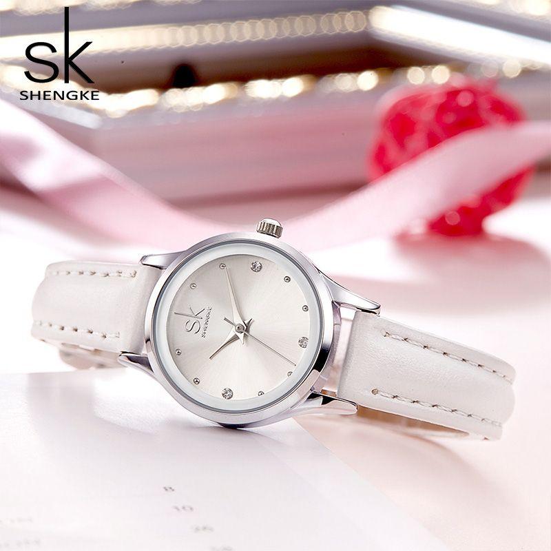 Shengke Mode montres cuir Femmes Petit Cadran Rond Femme montres à quartz montre pour femme 2019 Top Marque De Luxe Dames Montres