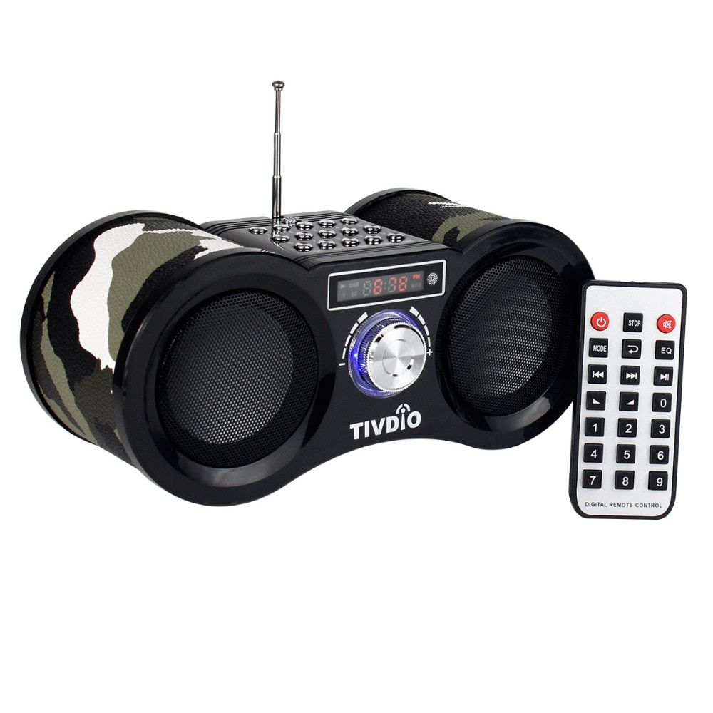 TIVDIO V-113 Camouflage Stereo Digital FM Radio USB/TF Card Speaker MP3 Music Player With Remote Control Receiver Radio F9203M