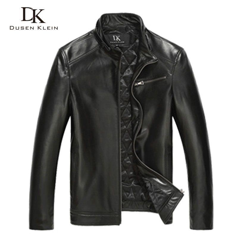 Luxus Baumwolle lederjacke männer Echtem Schaffell 2017 Neue Dusen Klein Marke schlank designer stil ledermantel Schwarz DK108