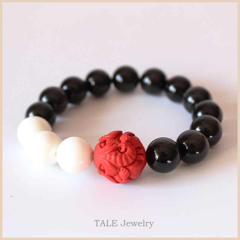 Gros Noir Obsidienne Mère De Perle Rouge Cinabre Sculpté Éléphant Perles Bracelet Extensible Chinois Traditionnel Chanceux Bijoux