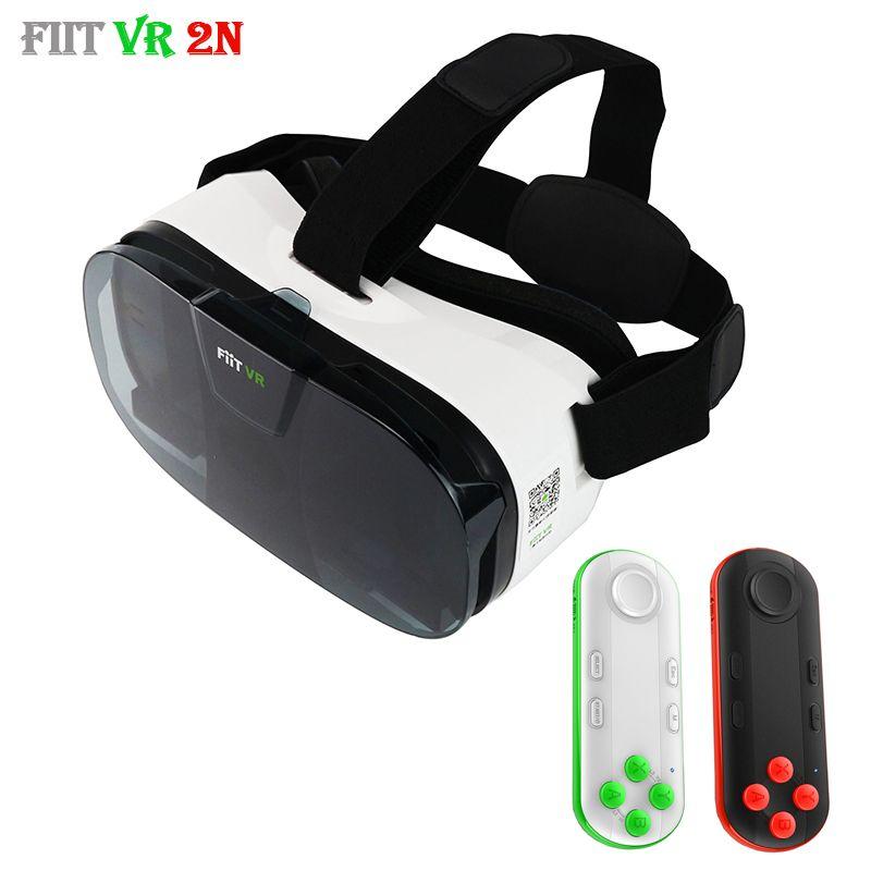 Fiit 2N 3D Glasses VR Box Virtual Reality Headset 120 FOV Video Google Glass Cardboard Helmet For Phone 4-6' + Remote