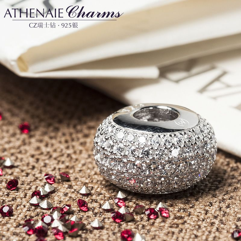 ATHENAIE Genuine 925 Sterling Silver Charms Bead Pave Clear CZ Fit All European Charm Bracelet Authentic Jewelry Gift