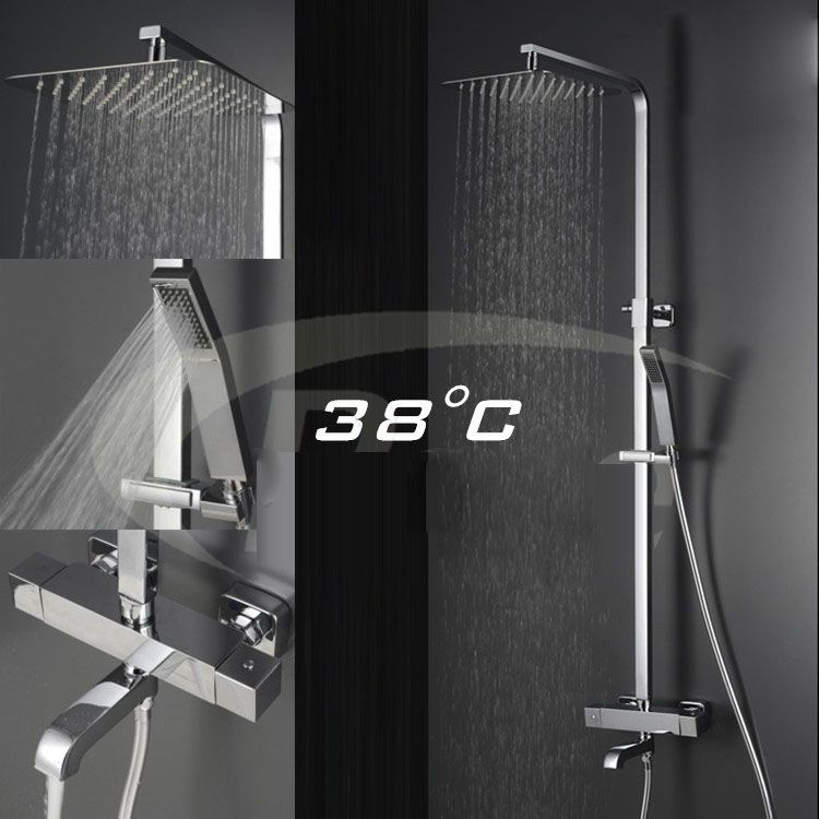 Wall Mounted Bath Tub Thermostatic Massage Jets Shower Faucet with Handshower,ultra-thin square top spray Rain Waterfall Shower