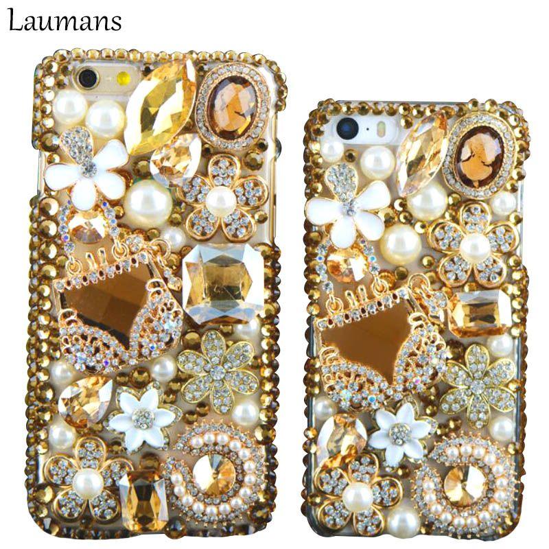 Laumans Luxury Golden Case For Iphone X 8 plus 5s 5C 4s 6 6s plus 7 plus Case Flowers Diamond Cute Flower Crystal Phone Cover