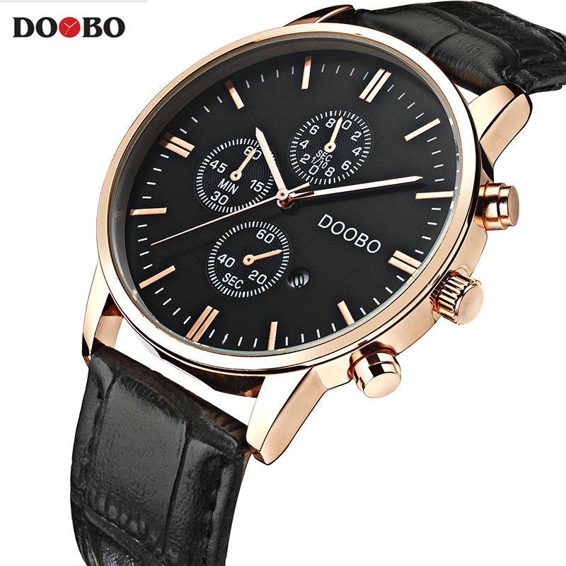 Новый doobo Часы Элитный бренд Для мужчин часы кожаные модные кварц-часы Повседневное мужской спортивный Дата наручные часы Montre Homme