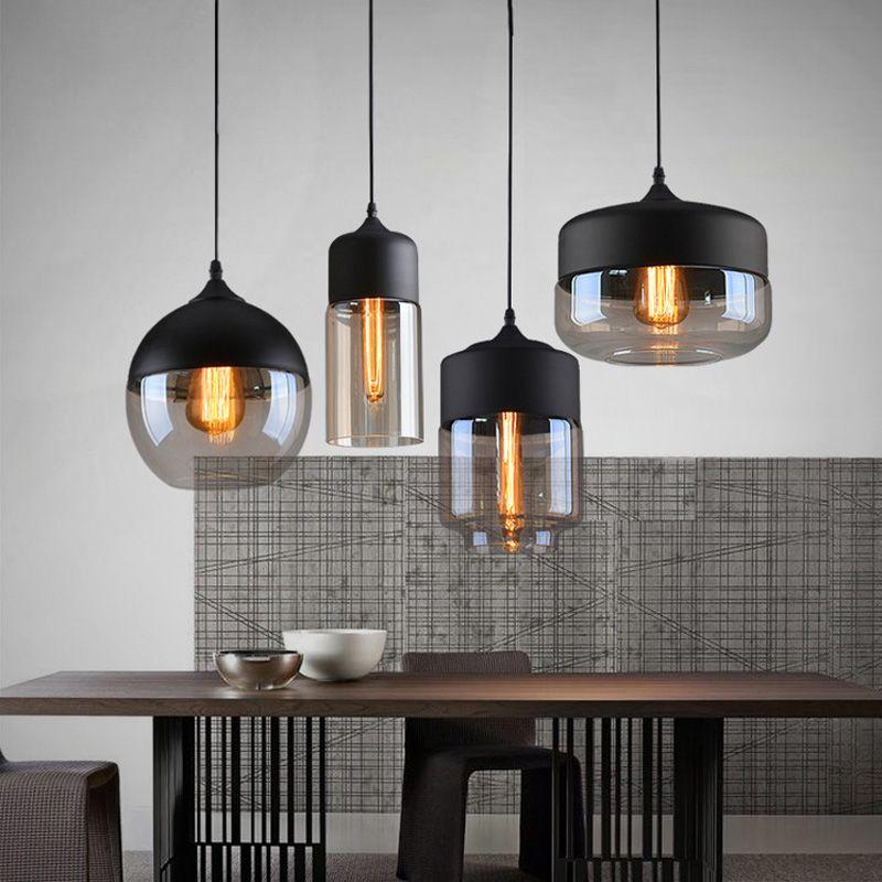 Vintage Pendentif Lumières Globe En Verre Pendentif Lampe Pour La Cuisine Salon Moderne Luminaires industrielle Lampe Suspendue Éclairage