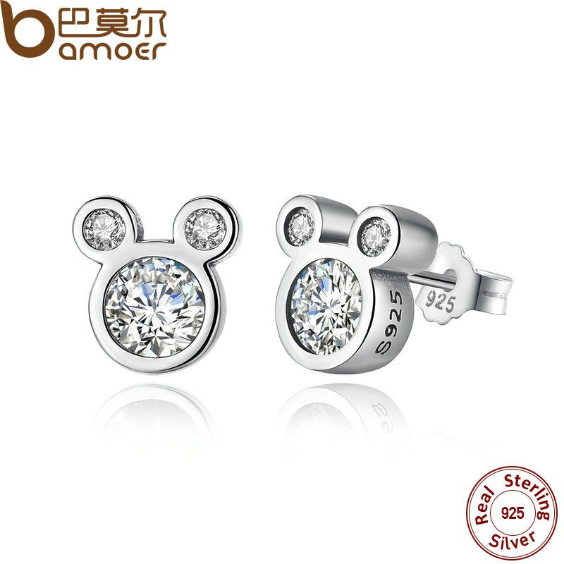 BAMOER Christmas SALE 925 Sterling Silver Dazzling Miky Mouse Stud Earrings for Women & Girls Sterling-Silver-Jewelry PAS457