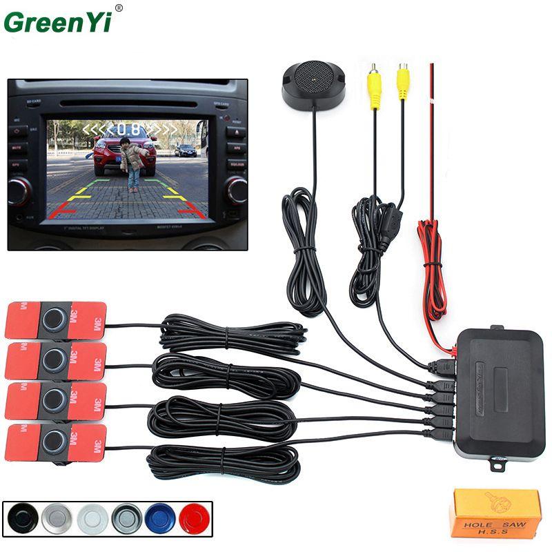 Car Video Parking Sensor Reverse Backup Radar Detector System 13mm Original Flat Sensors Can Connect Car DVD Monitor Rear Camera
