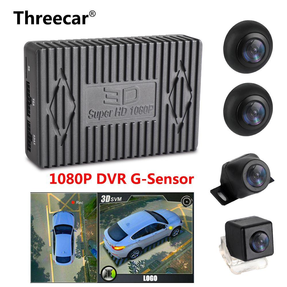 1080 P Super HD 360 Grad Surround Vogel Ansicht System Panorama Ansicht Auto Kameras 4-CH DVR Recorder mit G sensor DVR Quad-core CPU