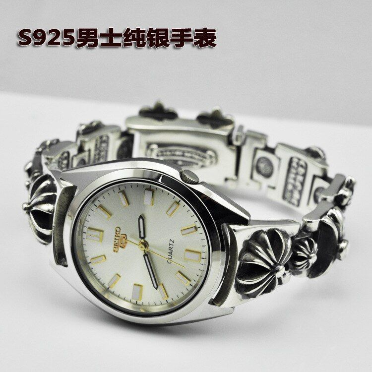 Sterling Silver Watch Thai Silver Style Fashion Retro Stereo Cross Flower Men 's Bracelet Quartz Watch Wholesale