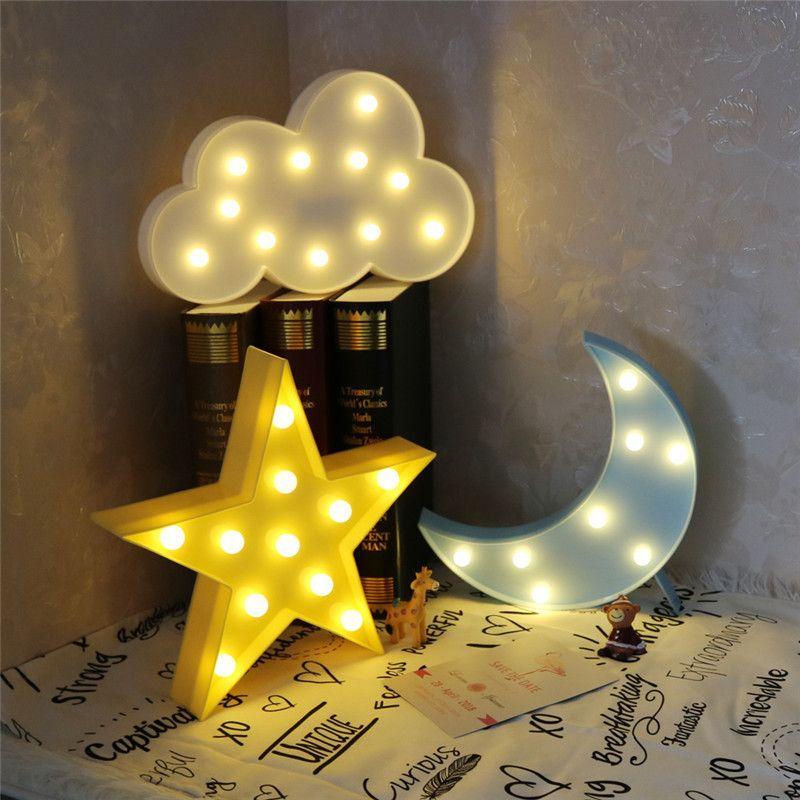AGM Luminaria lune étoile Cactus LED chapiteau lettre lumière lampe sur pied 3D veilleuse flamant rose veilleuse pour enfant cadeau décoration