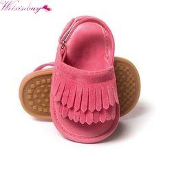 2017 bebé infantil Toddle bebés zapatos PU cuero borla cuna inferior suave antideslizante verano Zapatos