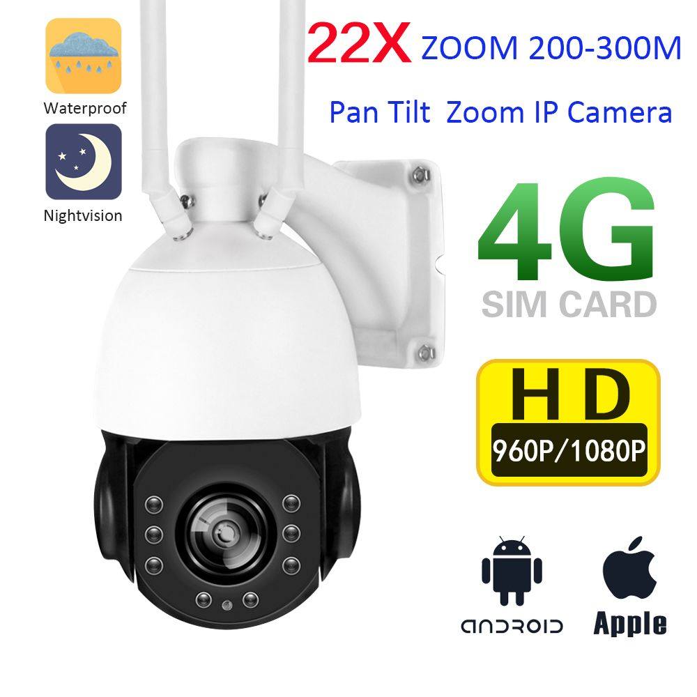 YSA HD Wireless 3G 4G SIM Card IP Camera PTZ Speed Dome 1080P 960P Outdoor 22X Optical Zoom SD Card Night Vision IR 150M CCTV