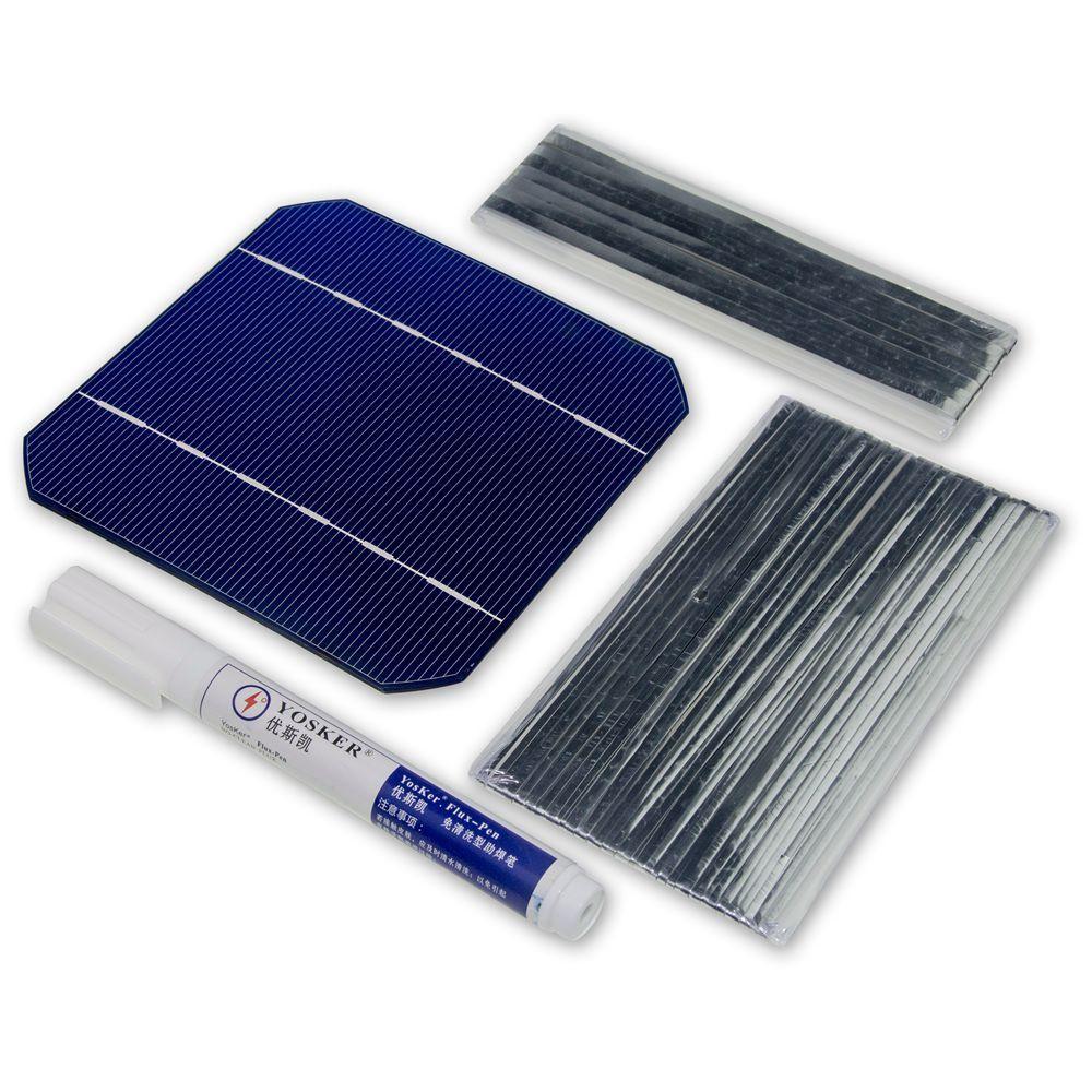 100 W bricolage panneau solaire chargeur Kit 40 pièces monocristall cellule solaire 5x5 avec 20 M Tabbing fil 2 M Busbar fil et 1 pièces Flux stylo