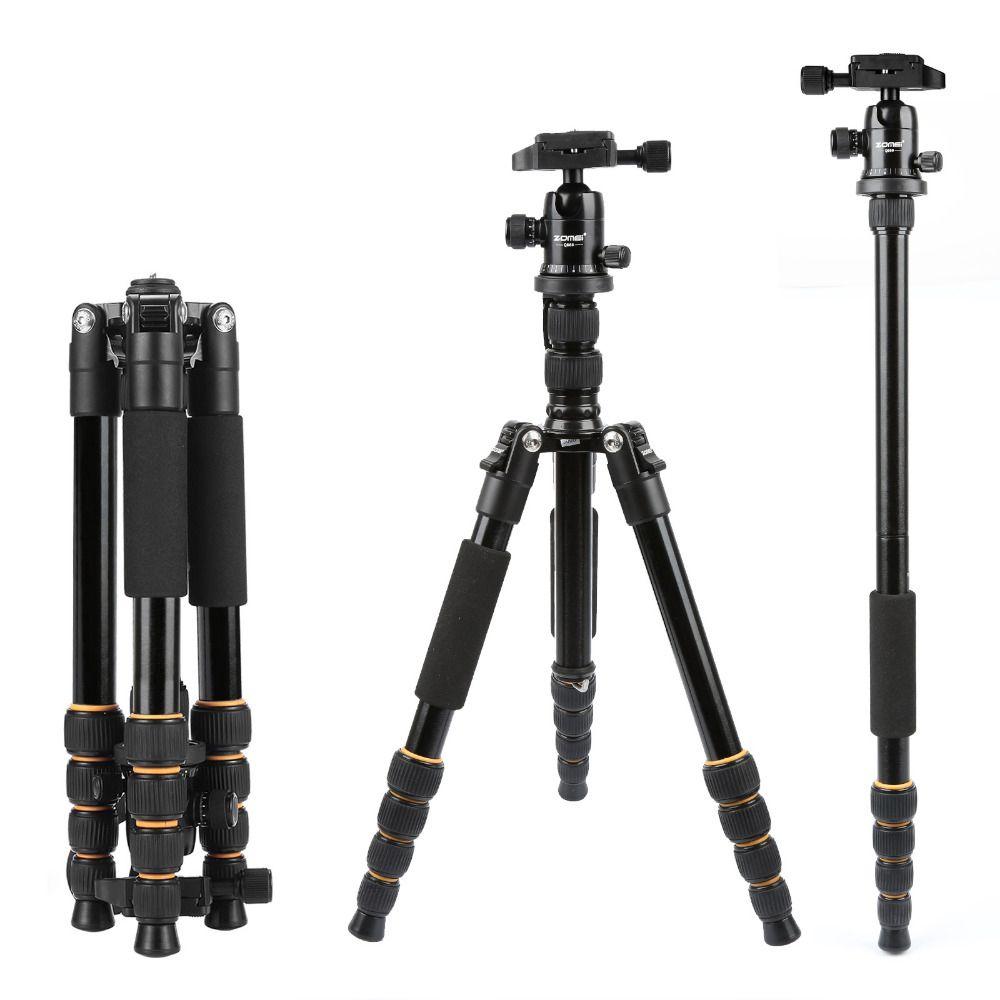 Leichte, Tragbare Q666 Q666C Professionellen Reise Kamerastativ aluminium/Kohlefaser stativ Kopf für digitale SLR DSLR kamera