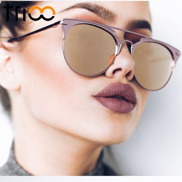 TRIOO Mirror Rose Gold Sunglasses Women Round Luxury Brand Female Sun Glasses For Women 2017 Fashion Oculos Star Style Shades