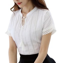 100% Cotton Shirt Short Sleeve 2019 Summer Women Blouses Tops Solid Casual Clothes Lace Hollow Out Sky Blue Shirts Blusas E225