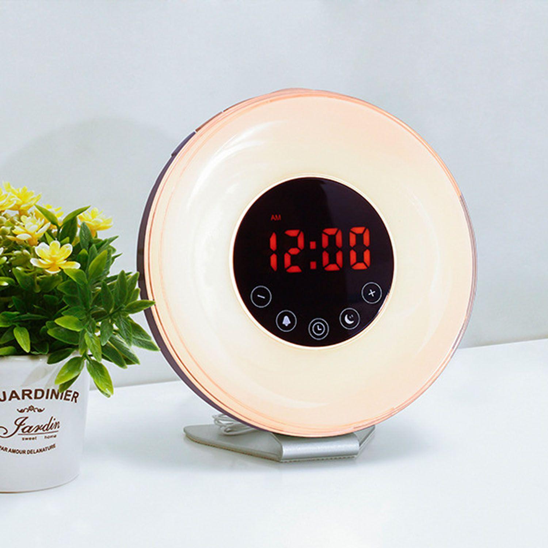 Gosear Aufwachen Licht Sunrise Sunset Simulator Digital-wecker Farbige Led-nachtlicht mit Snooze-funktion und FM Radio