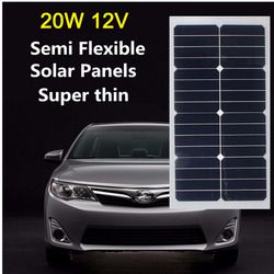 12V 20W Solar Panel Monocrystalline Energy Semi Flexible Solar Cell Sunpower for RV Car Boat PV Poly Solar Module