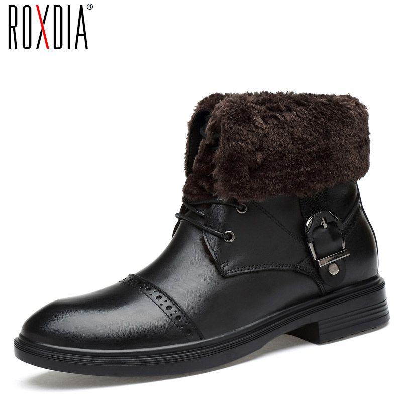 ROXDIA hombres botas de nieve de arranque de zapatos para hombre de cuero de vaca de invierno otoño caliente impermeable negro más el tamaño 39-48 RXM057