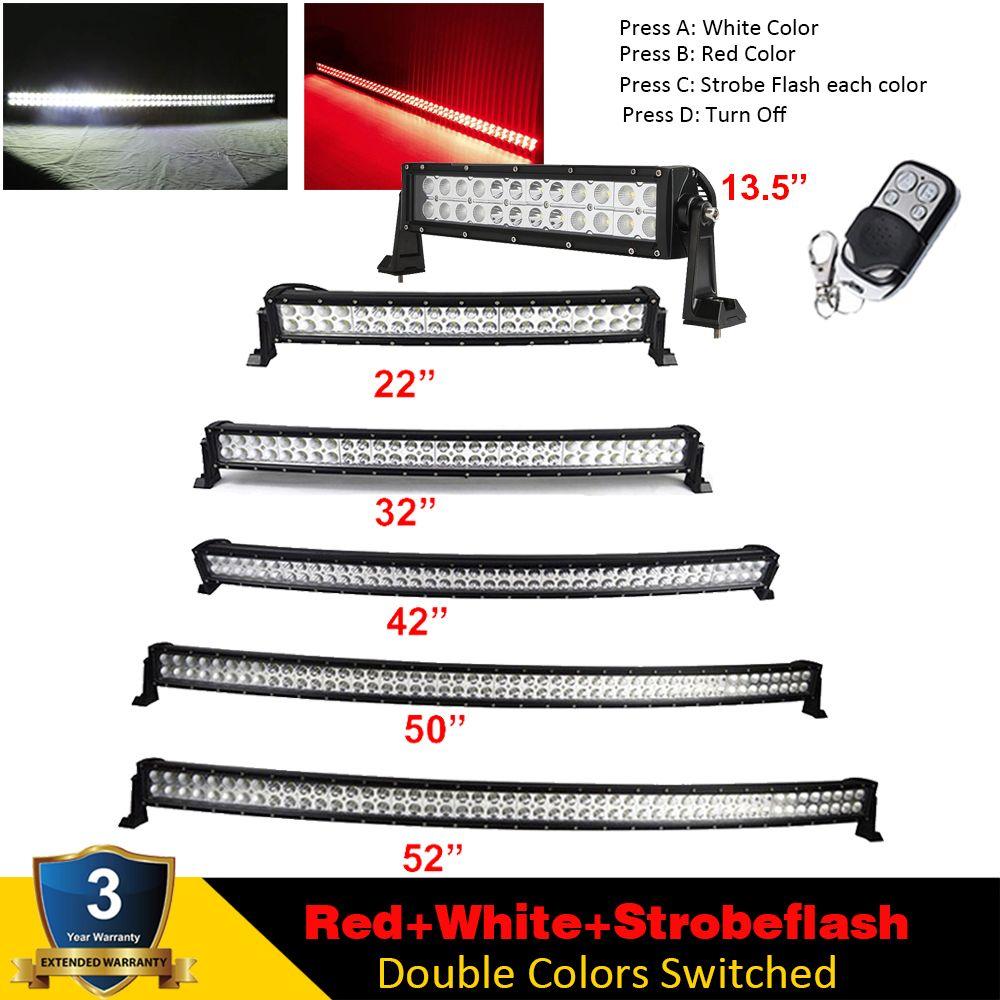 Rot/Weiß/Strobeflash 7/13. 5/22/32/42/50/52 zoll LED Licht Bar Gebogene/Gerade Offroad fahren Warnung Lampe SUV LKW 4X4WD ATV