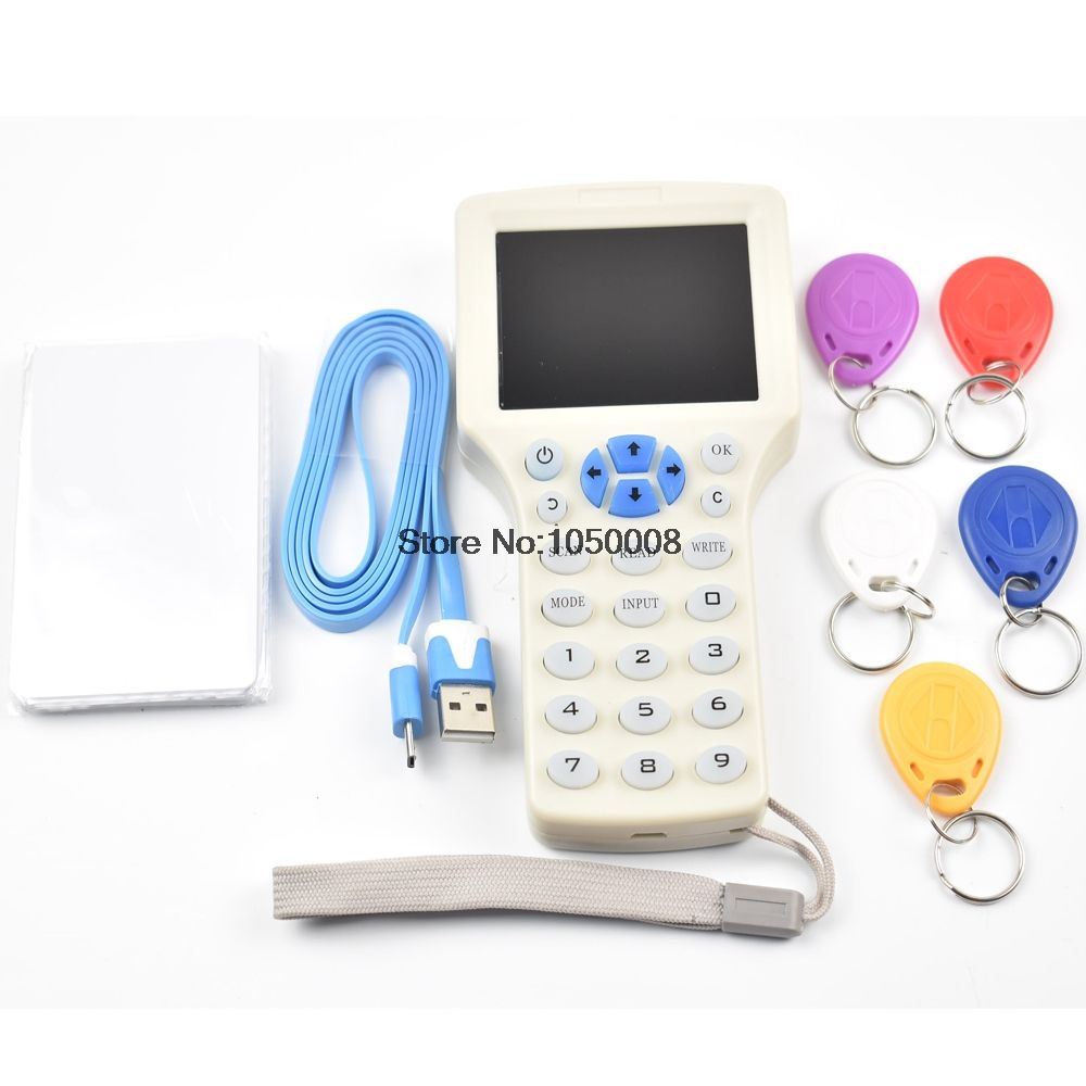 Updated version English 10 frequency RFID Copier ID/IC Reader Writer+5pcs 13.56mhz UID Writable Keys+5pcs 125khz T5577 Keyfobs