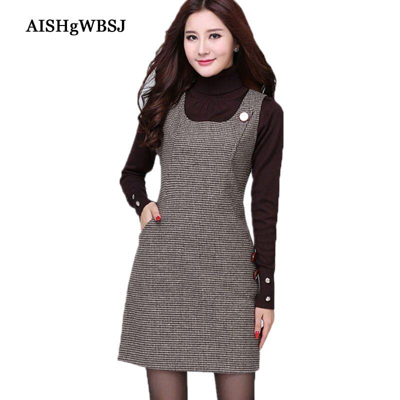 AISHGWBSJ 2017 Women autumn Winter Lattice Woolen Vest Dress Houndstooth Sundress Thousand Birds Big Size morality dress LP0011