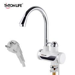 TINTONLIFE ЕС Plug Tankless мгновенный кран водонагреватель Мгновенный водонагреватель кран кухня горячая вода светодио дный кран светодиодный цифро...